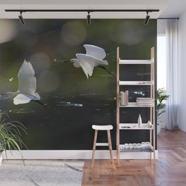 White Herons Flying Wall Mural