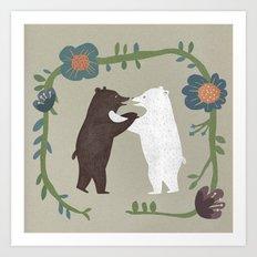 Hugging bears Art Print