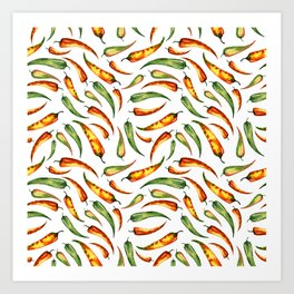 Watercolor seamless hand drawn pattern with red hot chilli peppers.  Art Print