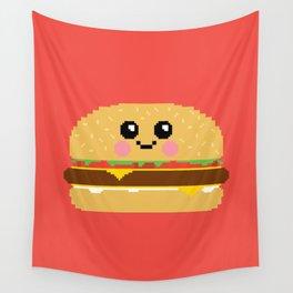 Happy Pixel Hamburger Wall Tapestry