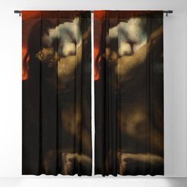 The Kiss, Lovers Amid Red romantic portrait painting by Franz von Stuck Blackout Curtain