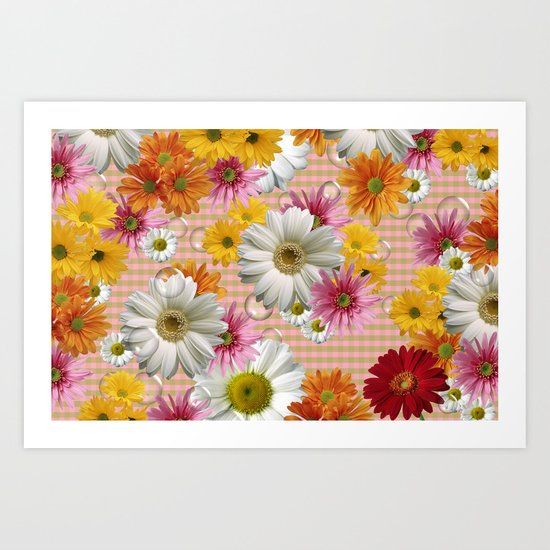 Retro Country Flowers Art Print