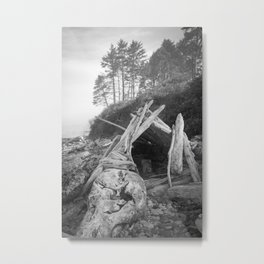 Driftwood Fort Misty Forest Beach Coast Coastal  Northwest Pacific Ocean Washington Rocky Waves Tree Metal Print