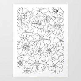 Floral print illustration - Garden White Art Print