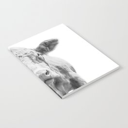 Highland Cow Portrait   Animal Photography   Black and White   Art Print Minimalism   Farm Animal Notebook