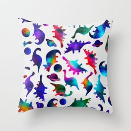 Rainbow Galaxy Watercolor Dinosaurs In Space Throw Pillow