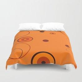 Orange retro style circles on orange  background Duvet Cover