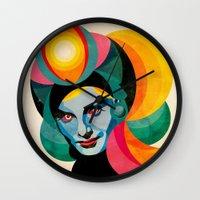 goddess Wall Clocks featuring Goddess by Alvaro Tapia Hidalgo