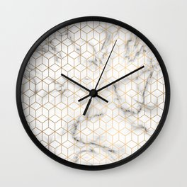 Gold Geometric Pattern on Marble Texture Wall Clock