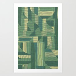 mid-century green pattern Art Print