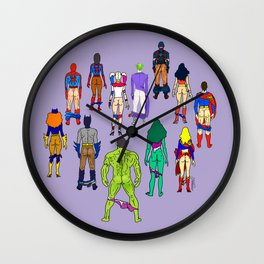 Superhero Butts - Power Couple on Violet Wall Clock