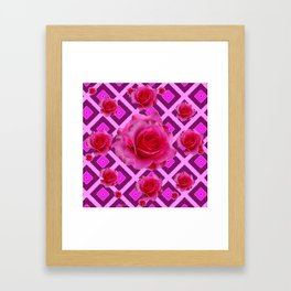 Burgundy Purple Fuchsia Pink Roses  Patterns Framed Art Print