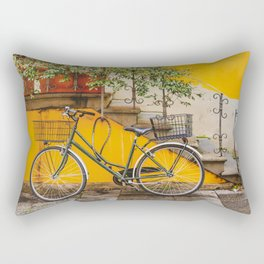 Bicycle Parked at Wall, Lucca, Italy Rectangular Pillow