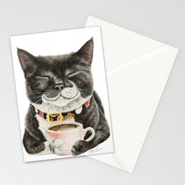 Purrfect Morning , cat with her coffee cup Stationery Cards