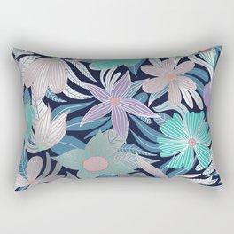 Silver Purple Blue Floral Leaves Illustrations Rectangular Pillow