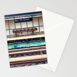 A platform bench Stationery Cards