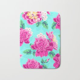 Bright Flowers Pretty Peonies Bath Mat