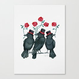 Ravens and Roses Red Canvas Print