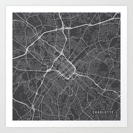 Charlotte Map, USA - Gray Art Print
