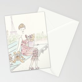 Paris with Yorkie Puppy Dog and Glam Fashion Stationery Cards