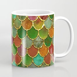 Greens & Gold Mermaid Scales Coffee Mug
