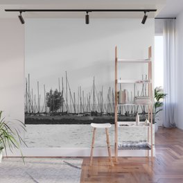 black and white sails in dock Wall Mural