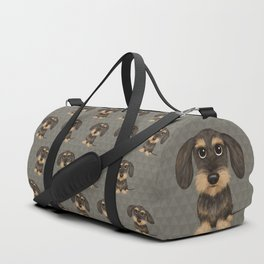 Wirehaired Dachshund | Cute Wire Haired Wiener Dog | Wild Boar and Tan Teckel Duffle Bag