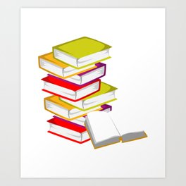 Stack OF Books Bookish Or Librarian Gift Art Print
