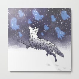 Coyotes Tip-Toe in the Snow After Dark Metal Print
