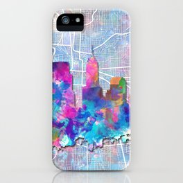 indianapolis city skyline watercolor 2 iPhone Case