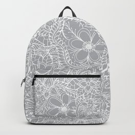 Modern trendy white floral lace hand drawn pattern on harbor mist grey Backpack