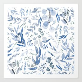 Eucalyptus Pattern - Blue Art Print