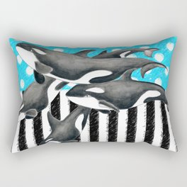 Artsy Orca Pod Blue Rectangular Pillow