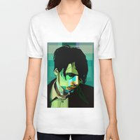 wes anderson V-neck T-shirts featuring Brett Anderson by zomplag