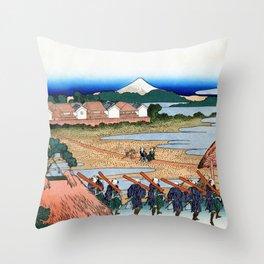 Mt,FUJI36view-Senju Fuji View - Katsushika Hokusai Throw Pillow