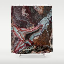 Earth treasures - patterns of colorful agate Shower Curtain