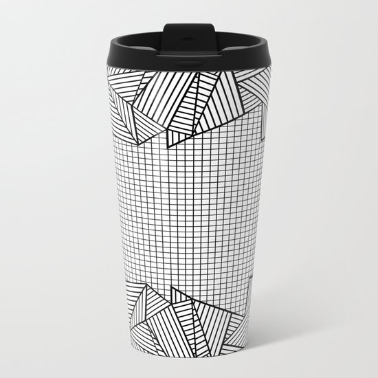 Grids and Stripes Metal Travel Mug