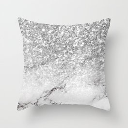 Silver glitter white marble ombre Throw Pillow