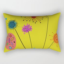 Silly Space-Age Flowers Yellow Background Rectangular Pillow