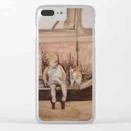 Going Places, a child and cat friendship Clear iPhone Case