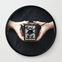 vintage camera Wall Clocks featuring Vintage Camera by Maria Heyens