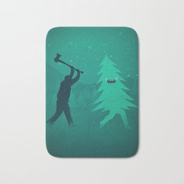 Funny Christmas Tree Hunted by lumberjack (Funny Humor) Bath Mat
