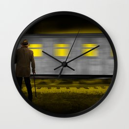 Old Man with a Cane standing along side a moving Railroad Train Passenger Coach Car Wall Clock