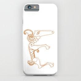 Celtic Animal Alphabet Ram initial letter E iPhone Case
