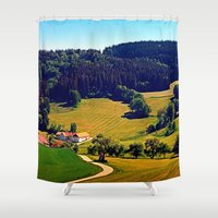 hiking Shower Curtains featuring Hiking through springtime scenery by Patrick Jobst