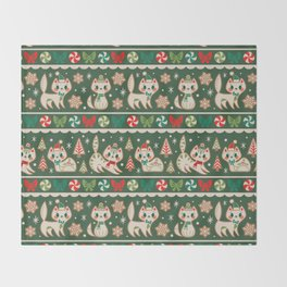 Striped Gingerbread Kitties (Green) Throw Blanket