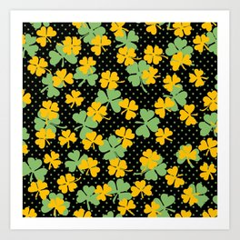 Black Yellow and Green Shamrock Clover St. Patrick's Day Art Print