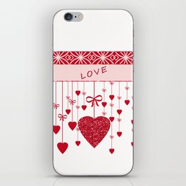Red hearts on a white background. iPhone Skin