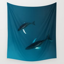 Mother and Child – Humpback Whales in the Ocean – Minimalist Wildlife Photography Wall Tapestry
