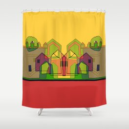 Two Suns Above the Village Shower Curtain